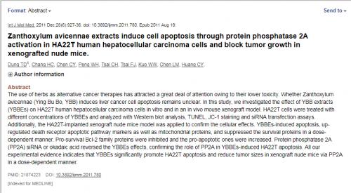 Nghiên cứu chúng minh chiết xuất từ Ưng Bất Bạc hủy diệt tế bào ung thư gan người HA22T thông qua cơ chế hoạt hóa PP2A giảm sự phát triển khối u trên chuột miễn dịch.