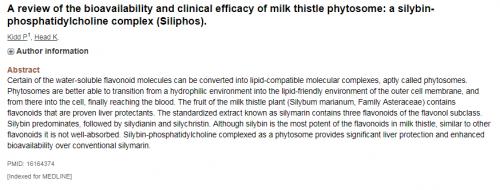 Nghiên cứu đánh giá sinh khả dụng và hiệu quả lâm sàng của hợp chất phytosome trong cây kế sữa: silybin phosphatidylcholine complex.