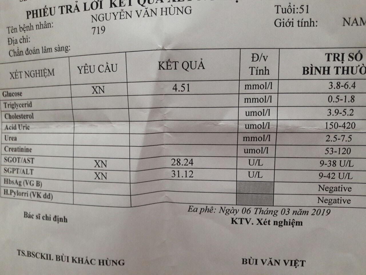 Các chỉ số xét nghiệm men gan của anh Hùng đã trở lại mức bình thường